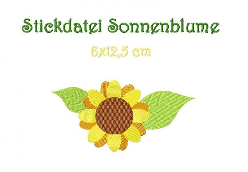 - Stickdatei, Sonnenblume 6x 12,5 cm zum besticken von Handtüchern, TShirts  - Stickdatei, Sonnenblume 6x 12,5 cm zum besticken von Handtüchern, TShirts