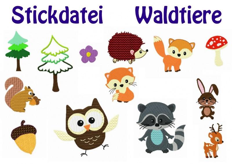 - Stickdatei, Waldfreunde zum besticken von Handtüchern, TShirts  - Stickdatei, Waldfreunde zum besticken von Handtüchern, TShirts