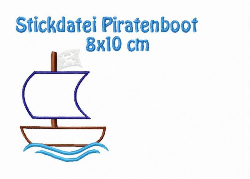 - Stickdatei, Piratenboot zum besticken von Handtüchern und T-shirts  - Stickdatei, Piratenboot zum besticken von Handtüchern und T-shirts