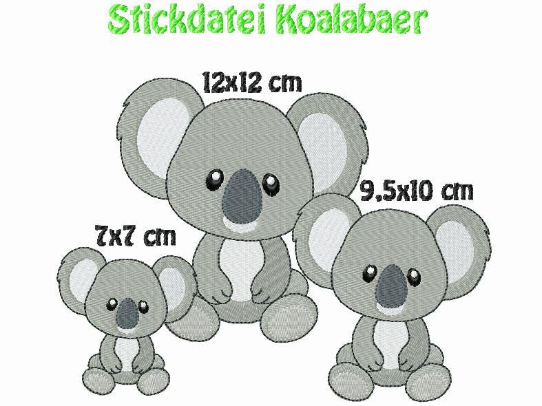 - Stickdatei, Koalabaer,Koalabär zum besticken von Handtüchern, TShirts  - Stickdatei, Koalabaer,Koalabär zum besticken von Handtüchern, TShirts