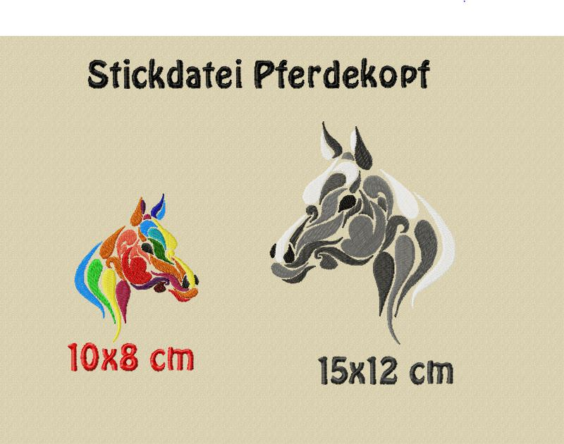 Material : Stickdatei, Pferdekopf in 2 größen, 8x10 12x15 cm zum ...