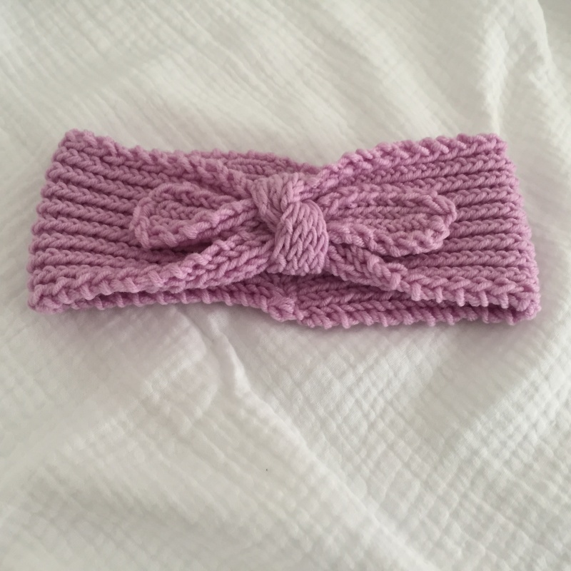 Kleinesbild - Baby Stirnband Kinder Stirnband gestrickt mit Schleife mehrere Größen u. Farben