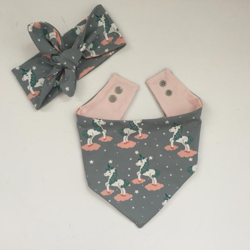 Kleinesbild - Baby Set *EINHORN* mit Stirnband und Halstuch für Baby / Kind