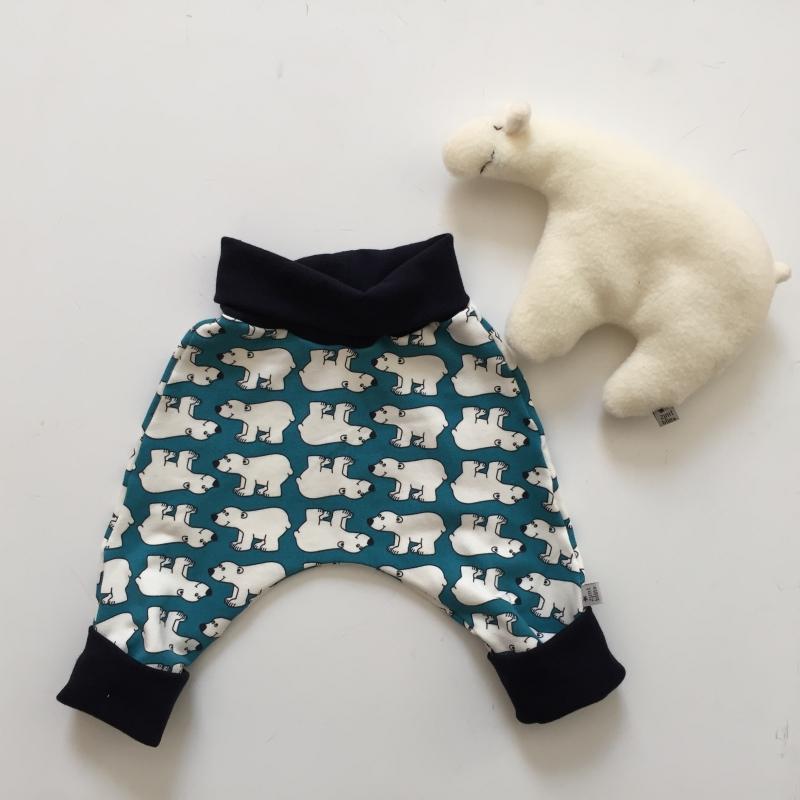 Kleinesbild - Mitwachshöschen  **EISBÄR** handmade Sweat von zimtbienchen Gr.50-80 Baby / Kind