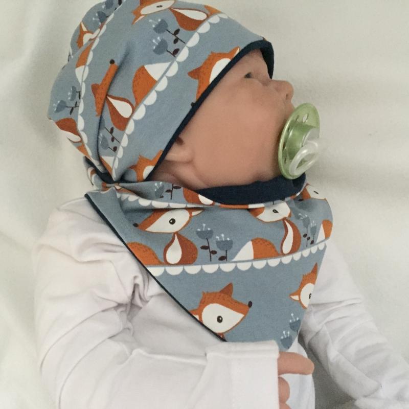 - Mützchen Halstuch Set  ** FUCHS ** für Neugeborene BIOBaumwolle 2 Teile  vom zimtbienchen  - Mützchen Halstuch Set  ** FUCHS ** für Neugeborene BIOBaumwolle 2 Teile  vom zimtbienchen