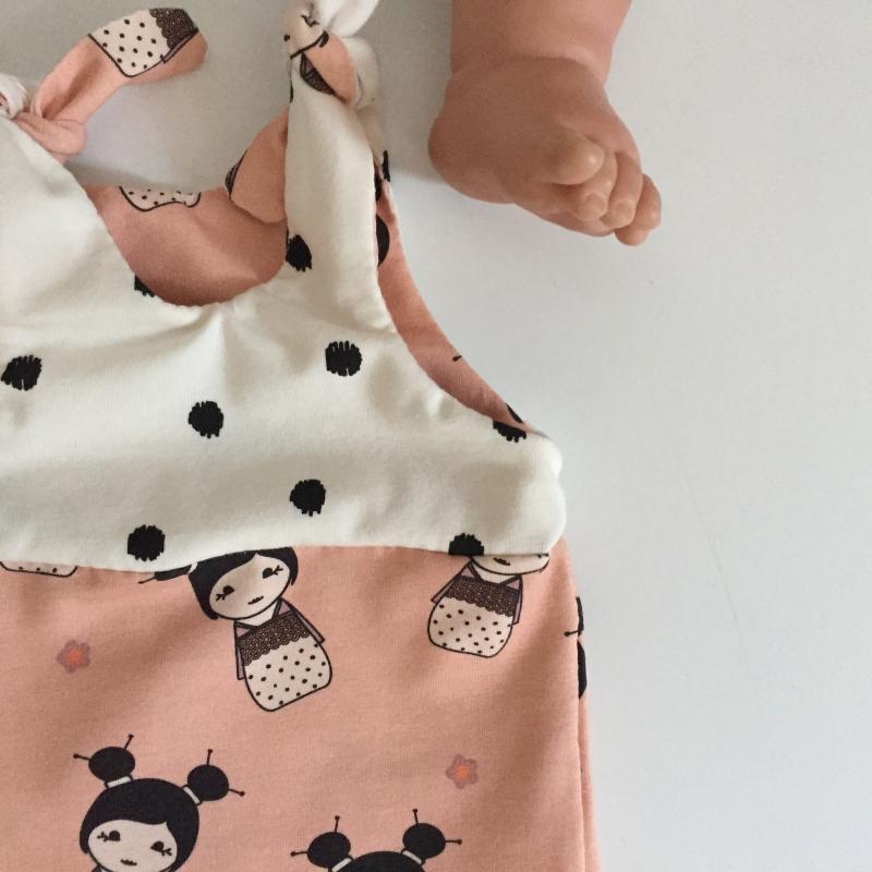Kleinesbild - kurzer Baby Strampler Overall  ** LITTLE GEISHA**  vom zimtbienchen  ab Gr. 50 handmade