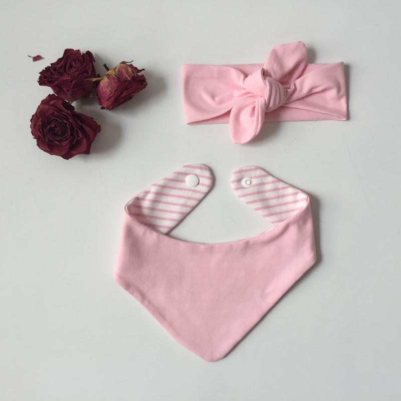 Kleinesbild - Stirnband Halstuch Set  * BASIC ROSA *  2 Teile verschiedene Größen vom zimtbienchen