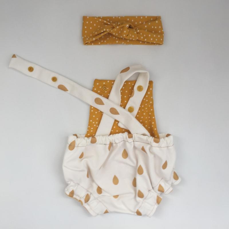 Kleinesbild -  Baby Latzhose  GOLDIG kurzer Spieler Romper vom zimtbienchen 50/98  Romper