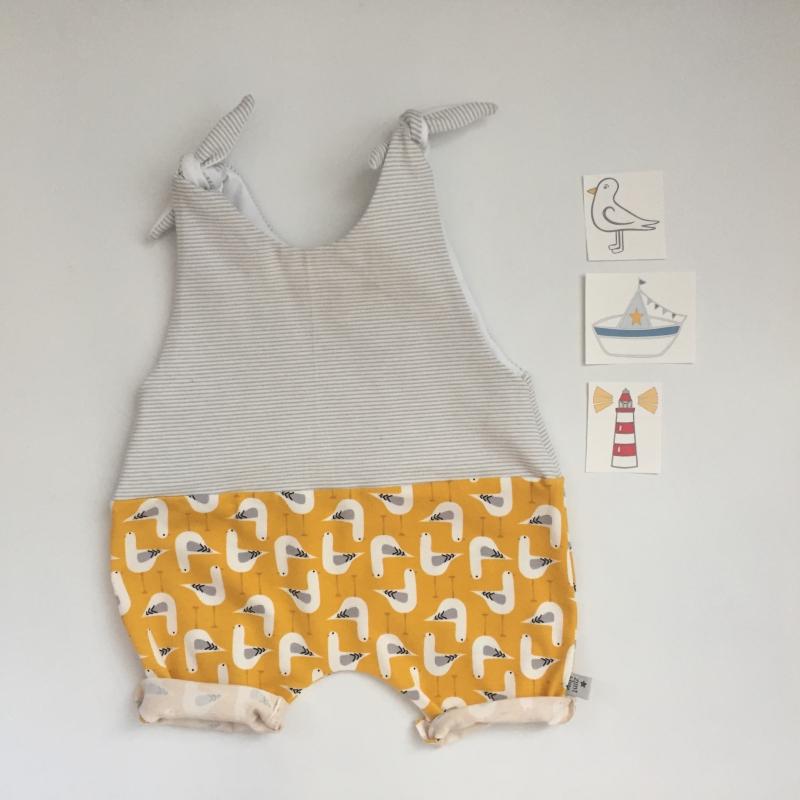 Kleinesbild - kurzer Baby Overall  MoinMoin Jumper Romper vom zimtbienchen 50/80