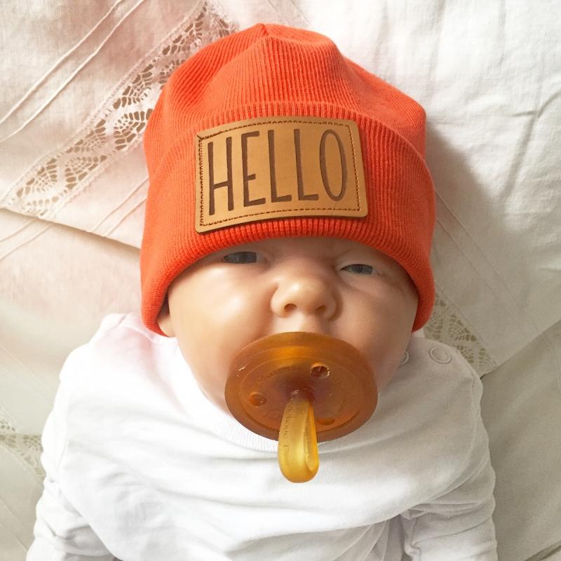 Kleinesbild - Coole Hipstermütze Beanie  ** HELLO ** fürs Kind Mützchen von zimtbienchen verschiedene Größen