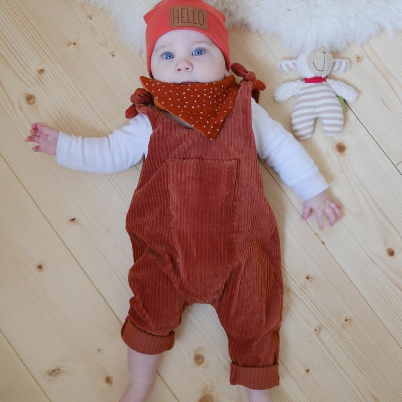 Kleinesbild -  Latzhose Modell Jumper Romper aus Jersey Cord für Baby und Kind vom zimtbienchen 56/98 in zwei Farben