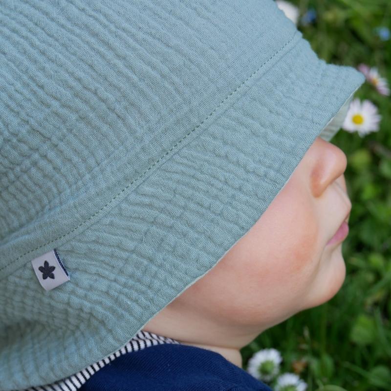 Kleinesbild - Sonnenhut MUSSELIN  senfgelb 4 Größen vom zimtbienchen Handarbeit für  Baby - Kind