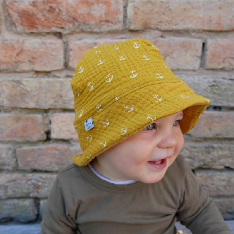 Kleinesbild - Sonnenhut MUSSELIN mit Anker 4 Größen vom zimtbienchen Handarbeit für  Baby - Kind
