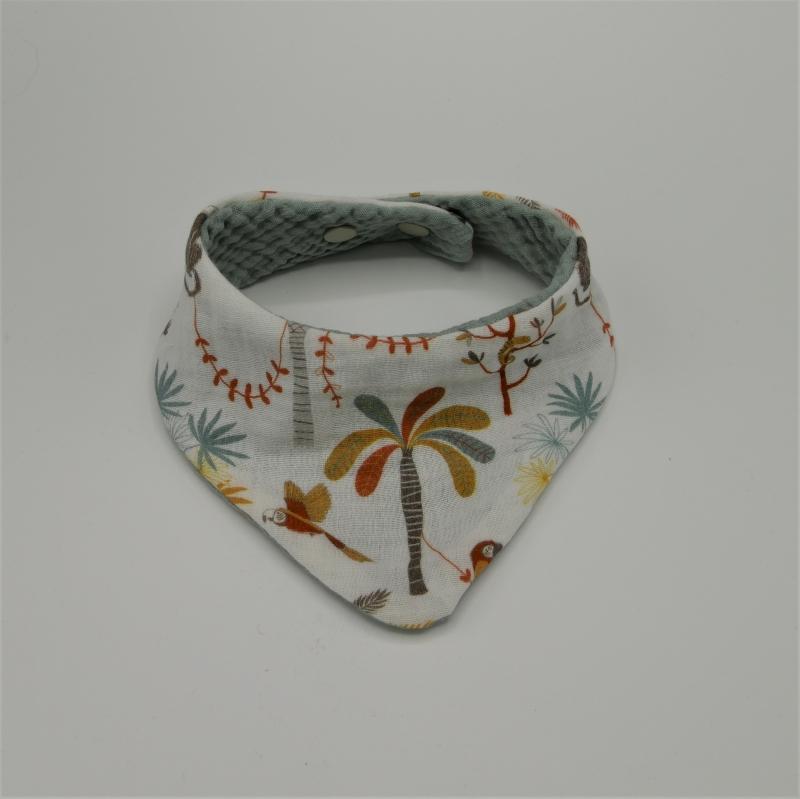 - Halstuch aus Musselin Halstuch mit PALMEN und PAPAGEI genäht vom zimtbienchen zum wenden   - Halstuch aus Musselin Halstuch mit PALMEN und PAPAGEI genäht vom zimtbienchen zum wenden
