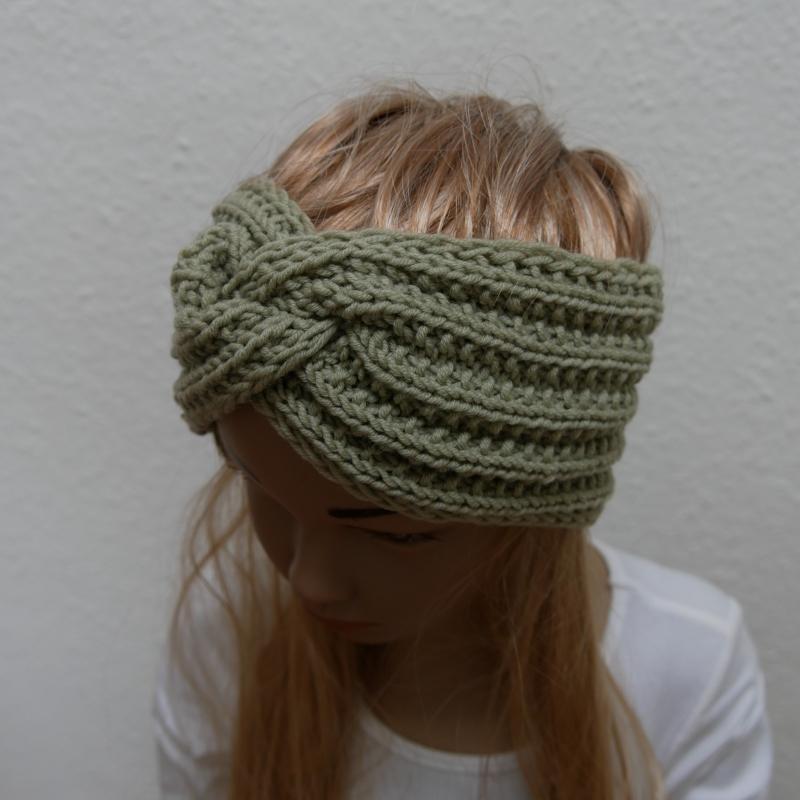 Kleinesbild - Mädchen Stirnband handgestrickt  CAROLIN  Turbanstirnband mit Knoten  zimtbienchen