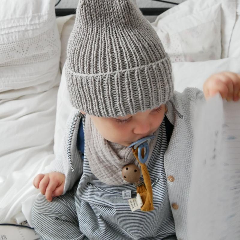 Kleinesbild - Hipster Beanie für Baby und Kind Mütze in Jeansblau von zimtbienchen verschiedene Größen