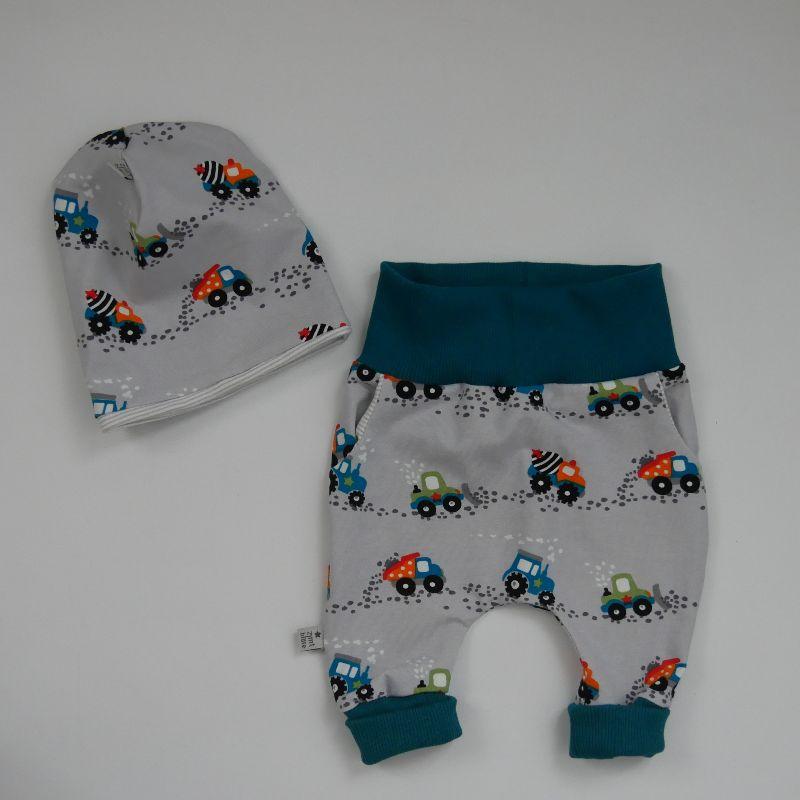 - 2teiliges Neugeborenenset BAUSTELLE 2-teilig  Wendebeanie Pumphose für Baby GRöße 56 von zimtbienchen   - 2teiliges Neugeborenenset BAUSTELLE 2-teilig  Wendebeanie Pumphose für Baby GRöße 56 von zimtbienchen