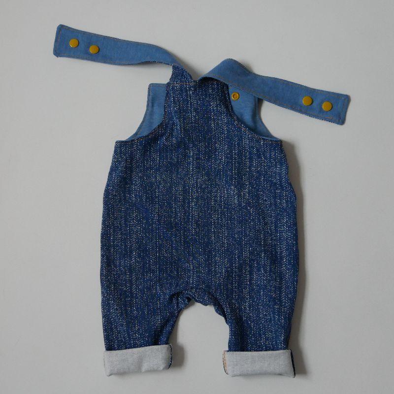 Kleinesbild -  Latzhose Modell  DENIM Jumper Romper BIOjersey für Baby und Kind vom zimtbienchen 44 - 98