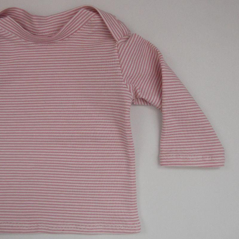 Kleinesbild - Baby STREIFEN in Puder Shirt Langarm  Handarbeit  zimtbienchen