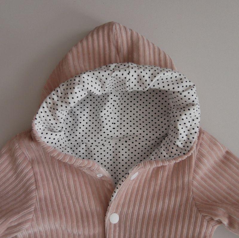 Kleinesbild - Babyjacke mit Kapuze NUDE aus CORDJERSEY von zimtbienchen Gr. 56 - 86  Baby