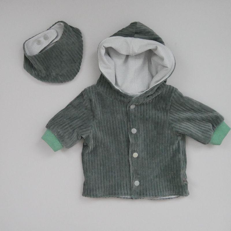 Kleinesbild - Babyjacke mit Kapuze DUSTYMINT aus CORDJERSEY von zimtbienchen Gr. 56 - 86  Baby
