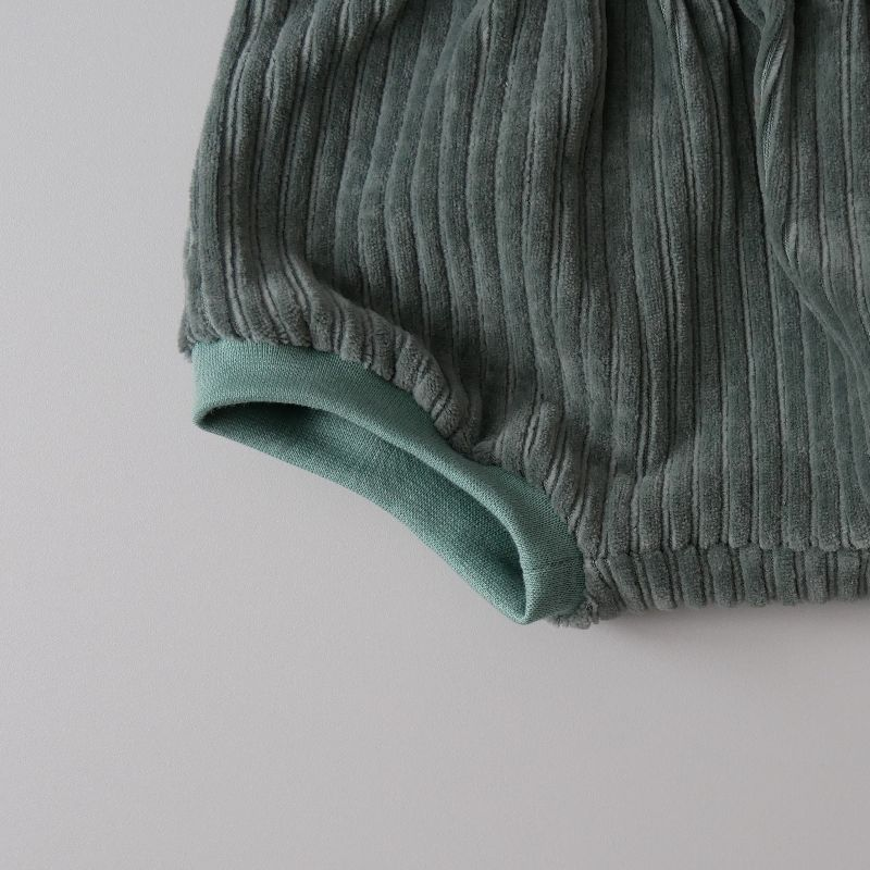 Kleinesbild - BUMMIE DUSTYMINTCordjersey kurze Hose Handarbeit Windelhöschen von zimtbienchen für Baby / Kind