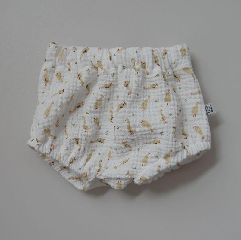 - BUMMIE GÄNSCHEN Musselin Bloomers kurze Hose   von zimtbienchen für Baby / Kind   - BUMMIE GÄNSCHEN Musselin Bloomers kurze Hose   von zimtbienchen für Baby / Kind