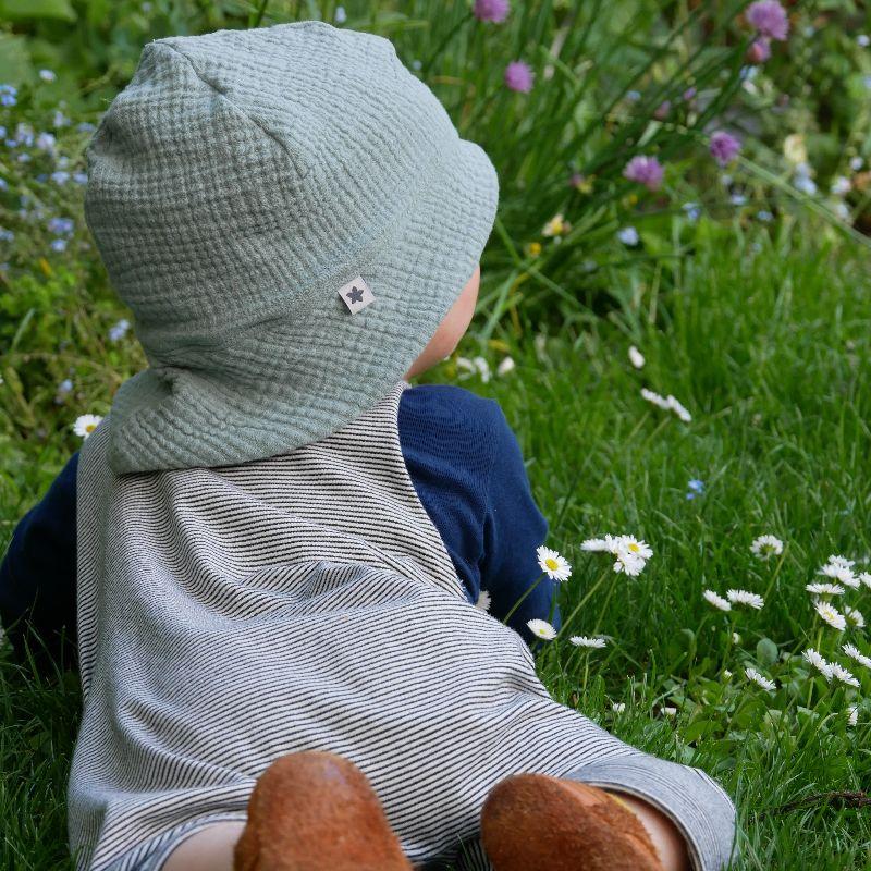 Kleinesbild - Sonnenhut MUSSELIN  mauvefarben 4 Größen vom zimtbienchen Handarbeit für  Baby - Kind