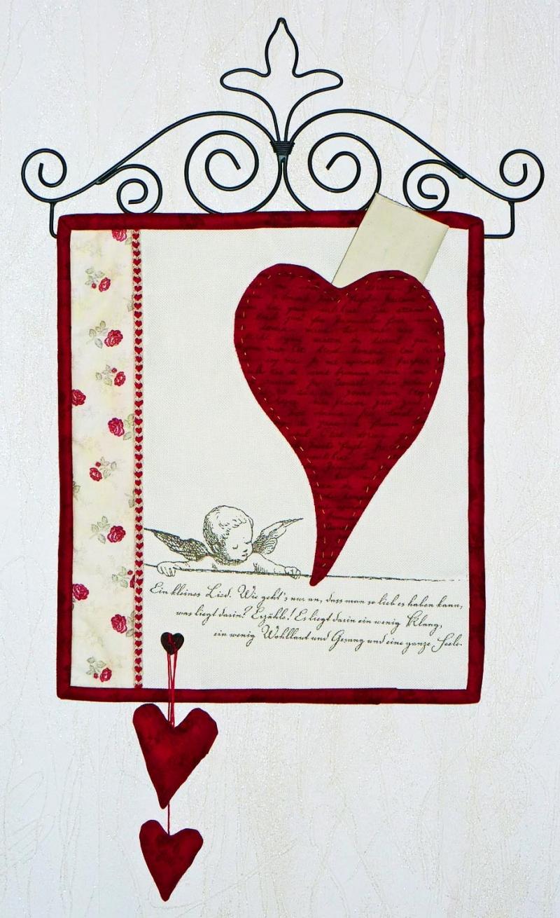 - ♡ kleiner Wandbehand - Herz auf Leinenband - ♡ kleiner Wandbehand - Herz auf Leinenband