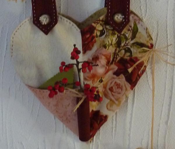 Kleinesbild - ♡ kleiner Wandbehand - Herz auf Leinenband