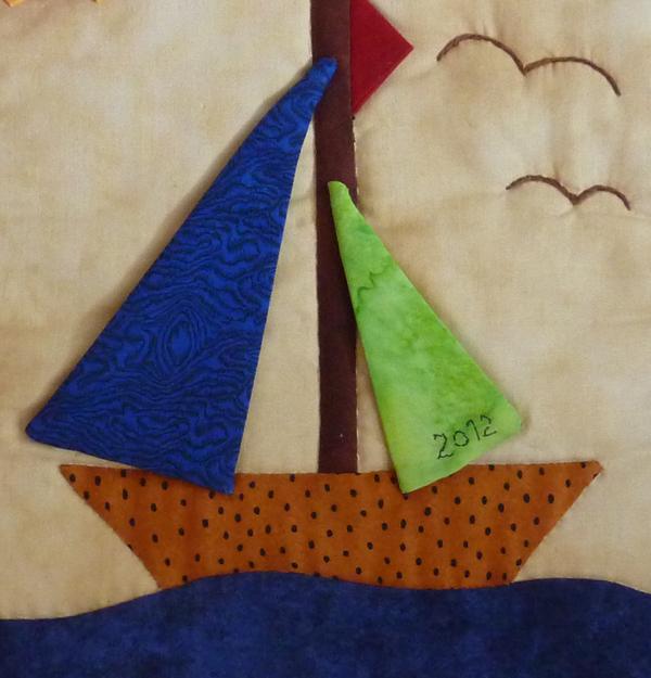 Kleinesbild - ♡ kleiner Wandbehang  Segelschiff (Sommer)