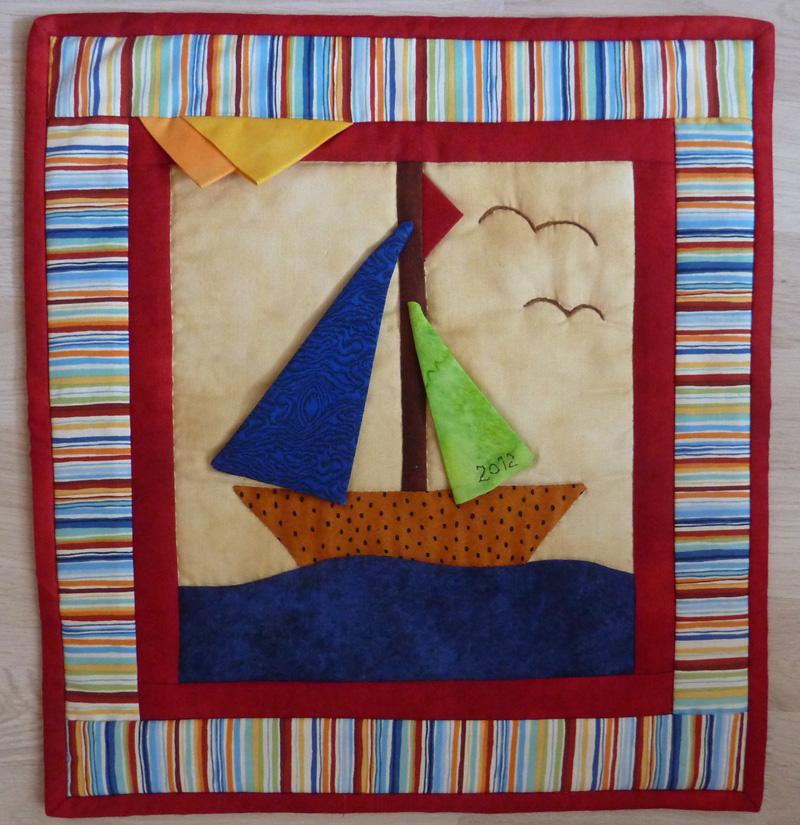 - ♡ kleiner Wandbehang  Segelschiff (Sommer) - ♡ kleiner Wandbehang  Segelschiff (Sommer)