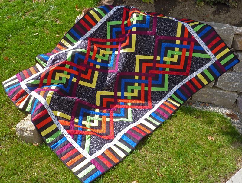 - ♡ große Patchworkdecke mit modernem Muster in Regenbogenfarben - ♡ große Patchworkdecke mit modernem Muster in Regenbogenfarben