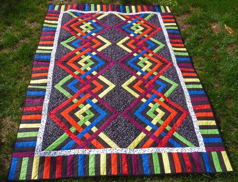 Kleinesbild - ♡ große Patchworkdecke mit modernem Muster in Regenbogenfarben
