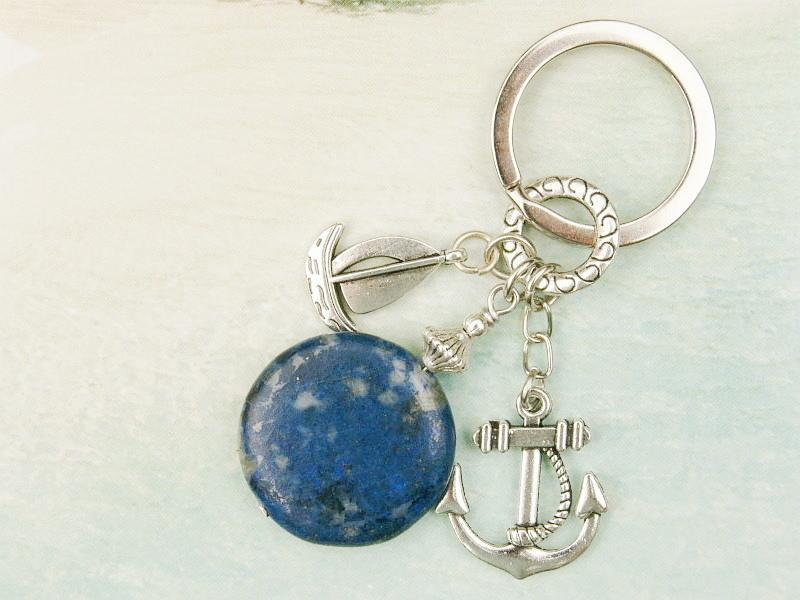 Kleinesbild - Schlüsselanhänger maritim Anker Schiff Lapislazuli blau