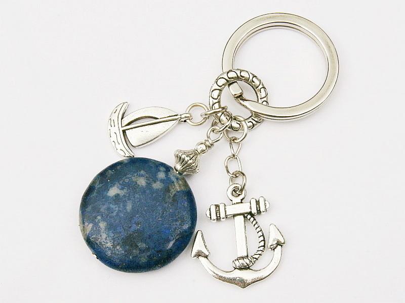 - Schlüsselanhänger maritim Anker Schiff Lapislazuli blau - Schlüsselanhänger maritim Anker Schiff Lapislazuli blau