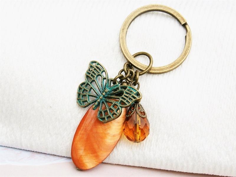 Kleinesbild - Schlüsselanhänger Schmetterling Perlmutt terracotta bronzefarben