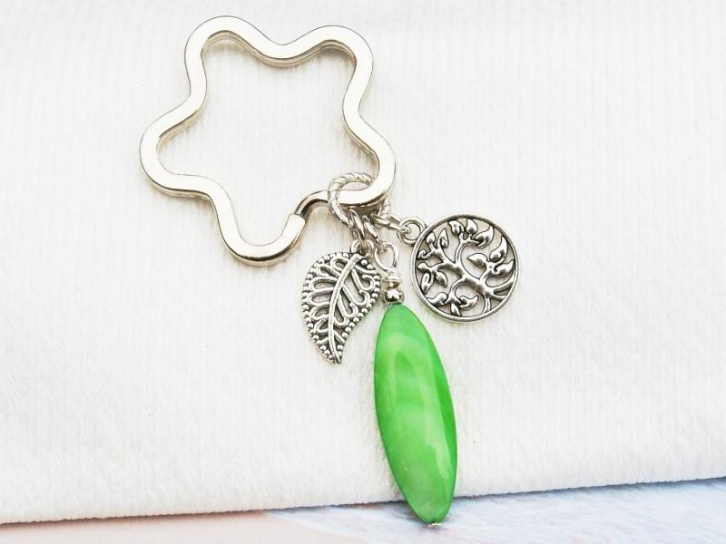 - Schlüsselanhänger Baum Lebensbaum Perlmutt grün - Schlüsselanhänger Baum Lebensbaum Perlmutt grün