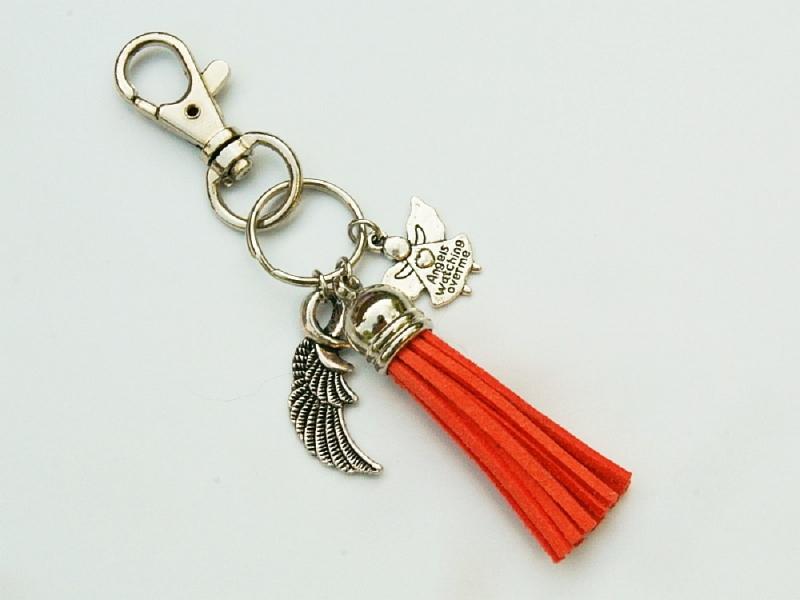 Kleinesbild - Schlüsselanhänger Glücksbringer Engel Flügel Quaste orange