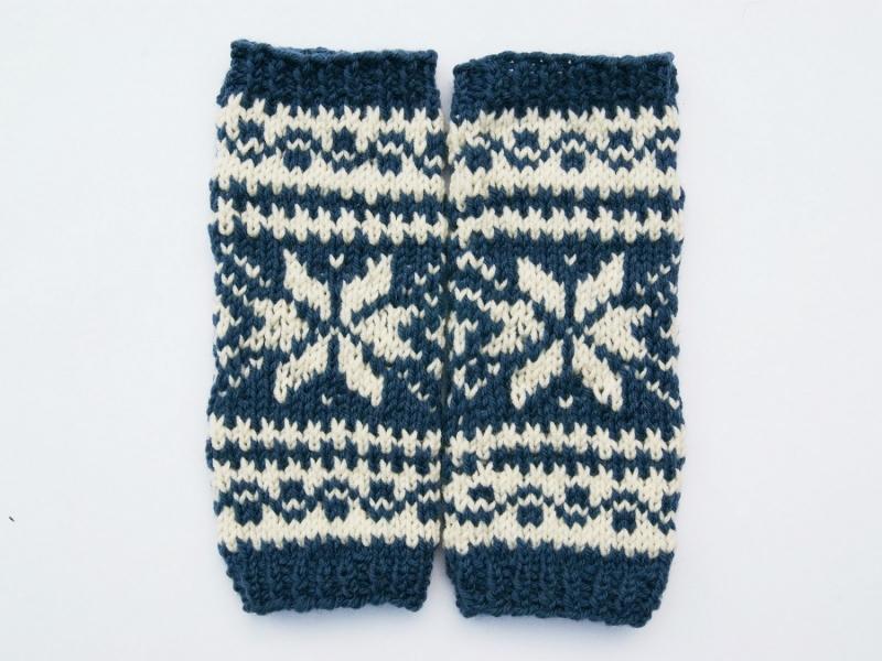 Kleinesbild - Armstulpen jeansblau natur Wollemischung handgestrickt Norweger