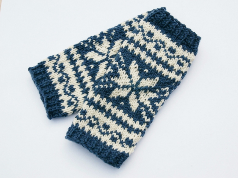 - Armstulpen jeansblau natur Wollemischung handgestrickt Norweger - Armstulpen jeansblau natur Wollemischung handgestrickt Norweger