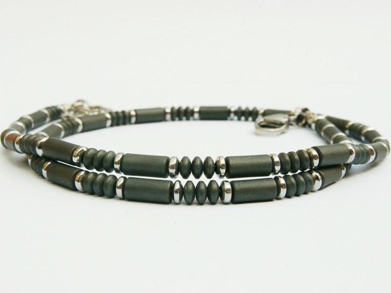 - Halskette Hämatit anthrazit silberfarben für Frauen und Männer  - Halskette Hämatit anthrazit silberfarben für Frauen und Männer