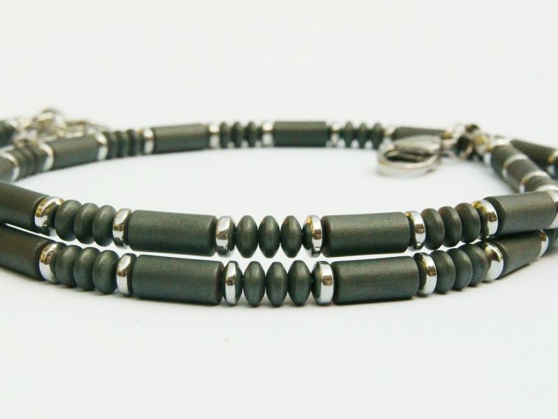 Kleinesbild - Halskette Hämatit anthrazit silberfarben für Frauen und Männer