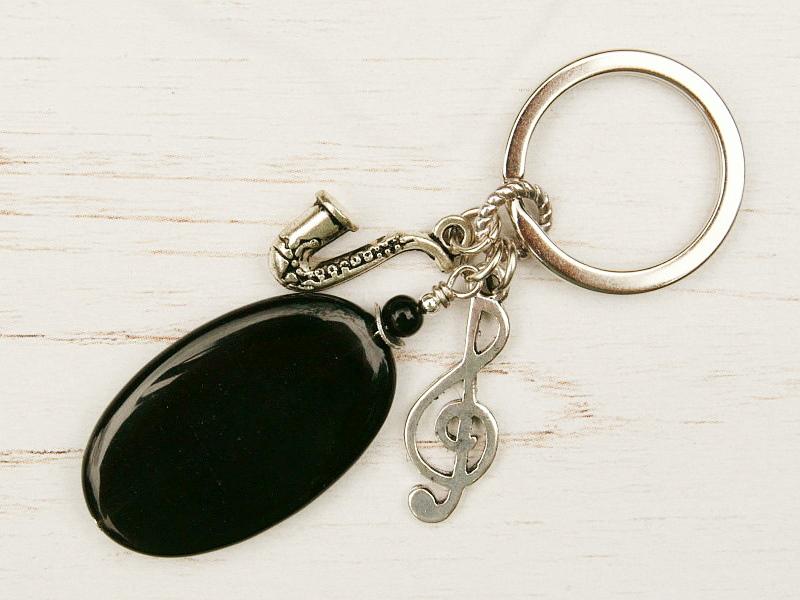 - Schlüsselanhänger Musik Notenschlüssel Saxophon schwarzer Achat - Schlüsselanhänger Musik Notenschlüssel Saxophon schwarzer Achat