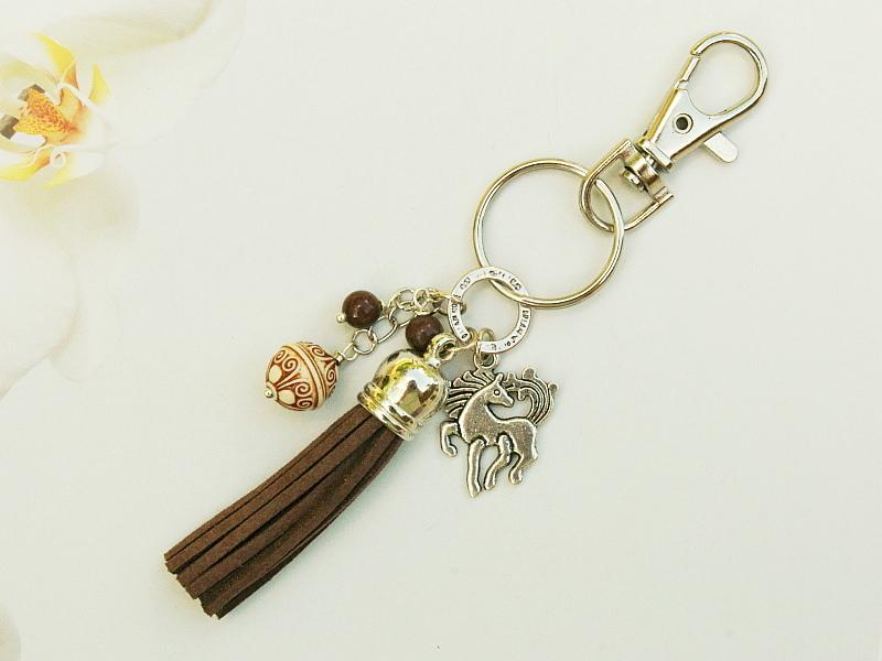 - Schlüsselanhänger Taschenanhänger Pferd Quaste braun - Schlüsselanhänger Taschenanhänger Pferd Quaste braun