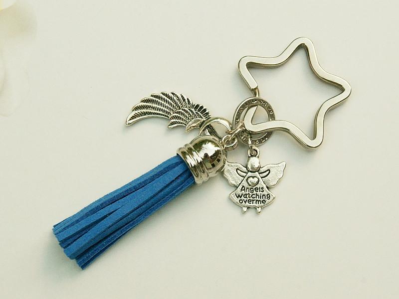 - Schlüsselanhänger Glücksbringer Engel Flügel Quaste blau - Schlüsselanhänger Glücksbringer Engel Flügel Quaste blau