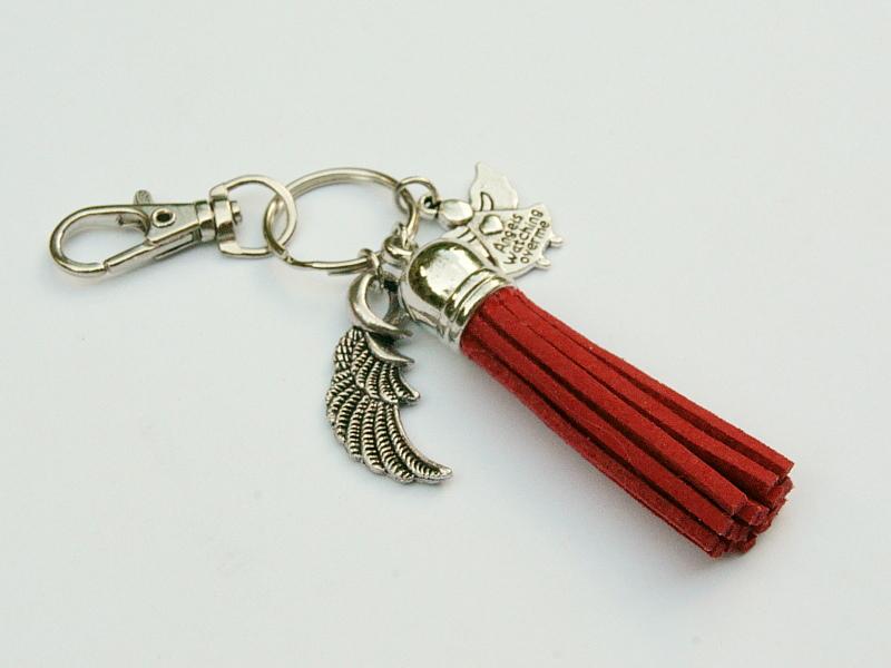 Kleinesbild - Schlüsselanhänger Glücksbringer Engel Flügel Quaste rot