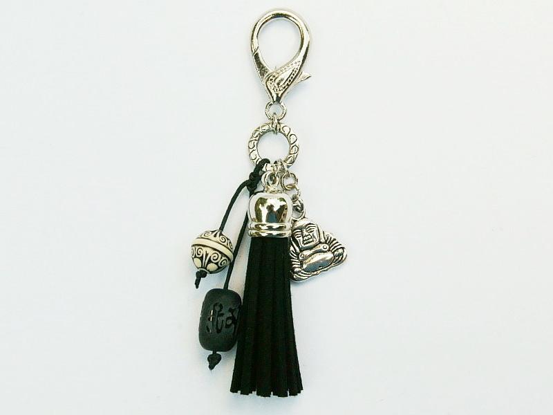Kleinesbild - Schlüsselanhänger Taschenanhänger Glücksbringer Buddha Quaste schwarz Edelstein Onyx