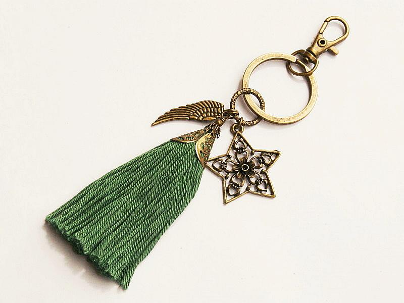 - Schlüsselanhänger Taschenanhänger Glücksbringer Stern Flügel Quaste grün - Schlüsselanhänger Taschenanhänger Glücksbringer Stern Flügel Quaste grün