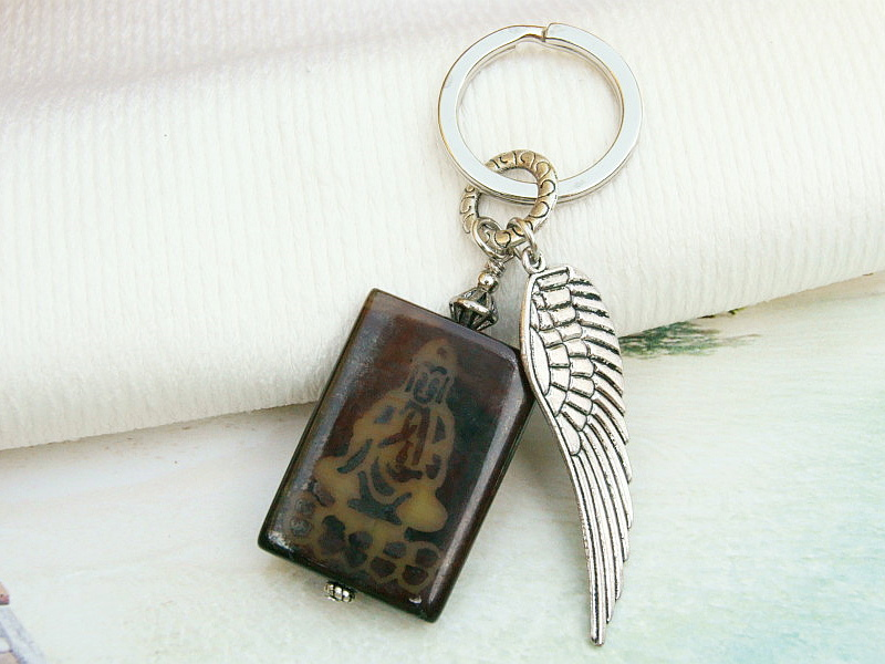 Kleinesbild - Schlüsselanhänger Buddha Flügel Achat Edelstein